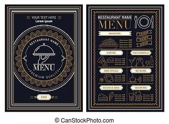 restauracja, szablon, wektor, menu