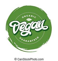 restauracja, tytuł, organiczny, illustration., tłoczyć, tekst, guaranteed, odizolowany, vegan, skutek, ścierka, tło., wektor, ręka, biały, kawiarnia, menu., handwritten