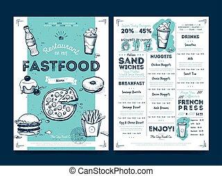 restauracyjny jadłospis, wektor, szablon, kawiarnia, projektować