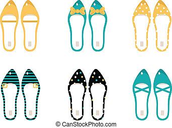 &, retro, błękitny, (, odizolowany, zbiór, obuwie, żółty, ), biały