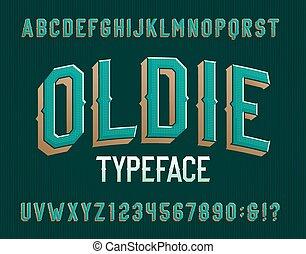 retro, beletrystyka, alfabet, numbers., oldie, font.