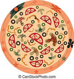 retro, pizza