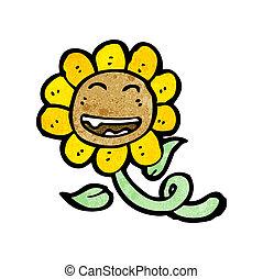 retro, słonecznik, rysunek