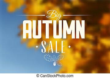 retro, sprzedaż, wektor, afisz, jesień