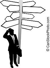 rewizja, handlowa decyzja, rozłączenie, znaki, kierunki, człowiek