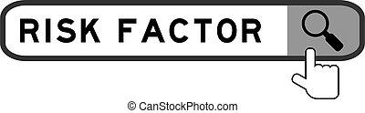 rewizja, szkło powiększające, na, ryzyko, factor, tło, słowo, biały, ręka, chorągiew, ikona