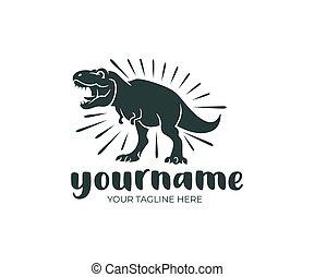 rex, prehistoryczny, natura, dziewiczość, ilustracja, tyrannosaurus, wektor, projektować, dinozaur, design., logo, zwierzę, zwierzę