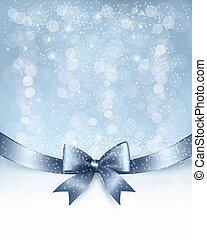 ribbon., łuk daru, wektor, połyskujący, tło, święto, boże narodzenie