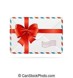 ribbon., łuk, doręczenie, wektor, poczta, albo