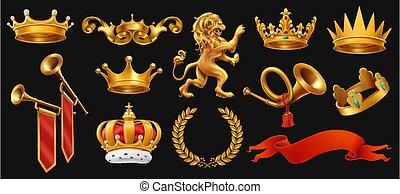 ribbon., komplet, king., złoty, wieniec, lew, korona, wektor, czarnoskóry, trąbka, laur, 3d, ikona