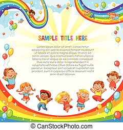 ride., coaster, na dół, poślizg, rainbow., szablon, dzieci, wałek