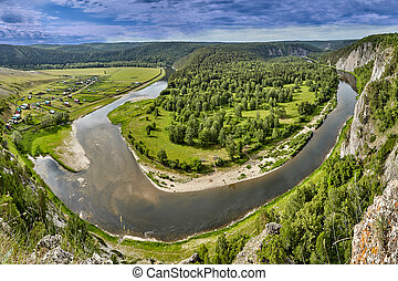 river., antena, las, prospekt