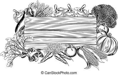 roślina, świeży, ogród, drewniany, znak