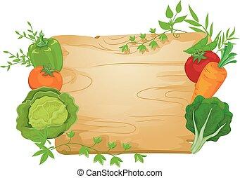 roślina, deska, ilustracja, znak