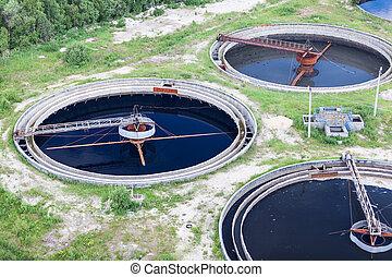 roślina, filtracja, grupa, traktowanie, zbiornik, wastewater