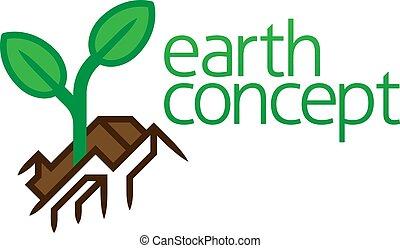 roślina, ikona, pojęcie, rozwój, sadzonka, ziemia, poza