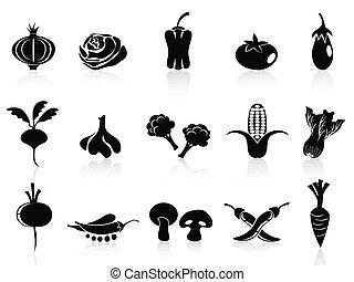 roślina, komplet, czarnoskóry, ikony