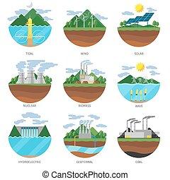 roślina, komplet, moc, ikony, produkcja, energia, wektor, types.