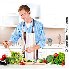 roślina, młody mężczyzna, cooking., jadło., zdrowy, sałata
