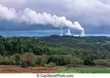 roślina, moc, środowiskowy, concept., planeta, węgiel, każąc, problem, skażenie