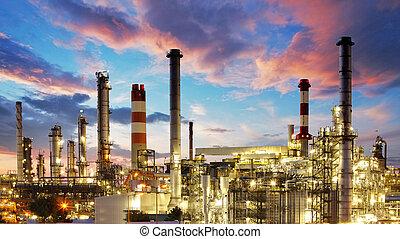 roślina, nafta, gaz, przemysł, -, fabryka, rafineria, petrochemiczny, zmierzch