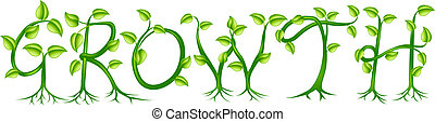 roślina, pojęcie, wzrost, typografia