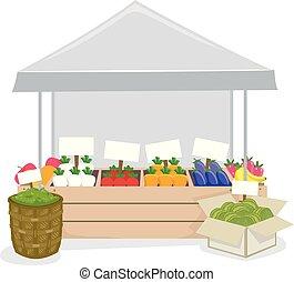 roślina, targ, ilustracja, owoce