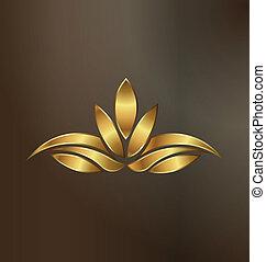 roślina, złoty, lotos, wizerunek, luksus, logo