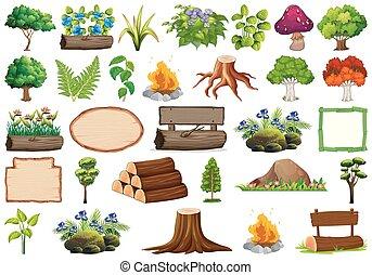 rośliny, dekoracyjny, komplet