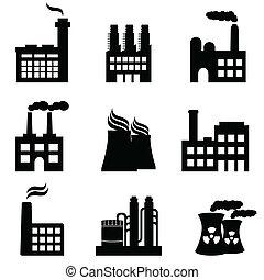 rośliny, fabryki, przemysłowy, moc, zabudowanie