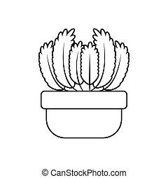 rośliny, ikona, styl, doniczkowy, soczysty, kreska