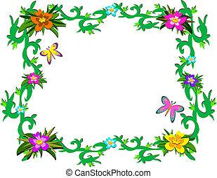 rośliny, tropikalny, ułożyć, b, soczysty
