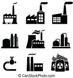 rośliny, zabudowanie, przemysłowy, moc, fabryki