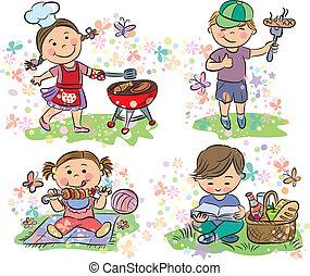 rożen, dzieciaki, piknik