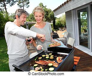 rożen, para, gotowanie, mięso, ogród