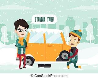 road., zmęczyć, wóz, pomoce, człowiek, zmiana, zima