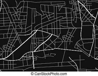 roads., map., układ, ilustracja, miasto, wektor