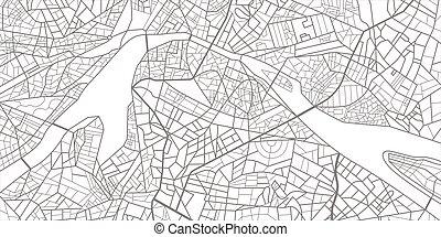 roads., map., wektor, miasto, ilustracja, układ