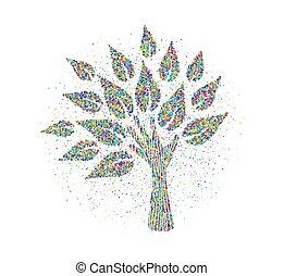 robiony, barwny, drzewo, ręka, cząstki, ludzki