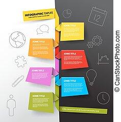 robiony, barwny, timeline, infographic, szablon, papiery, zameldować