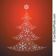 robiony, drzewo, boże narodzenie, płatki śniegu