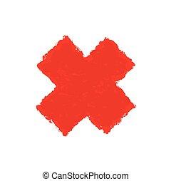 robiony, grunge, litera, marka, malować, wektor, szczotka, ink., x, style., czerwony