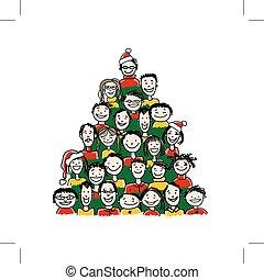 robiony, grupa, ludzie, drzewo, boże narodzenie, projektować, twój