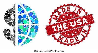 robiony, handlowy, zdrapany, collage, globalny, usa, tłoczyć