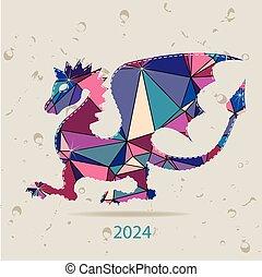 robiony, powitanie, twórczy, 2024, karta, rok, nowy, smok, triangle, szczęśliwy
