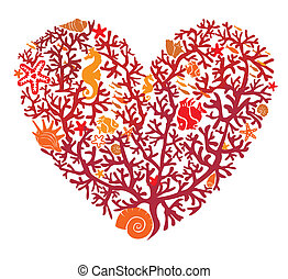 robiony, serce, odizolowany, korale
