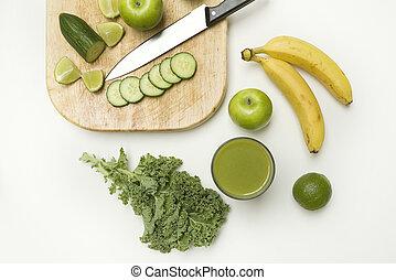 robiony, smoothie, zdrowy, górny, veg, owoc, prospekt