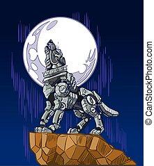 robot, ilustracja, księżyc, wycie, wektor, wilk