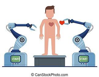 robot, odżywa, conveyor., man., stworzenie, człowiek