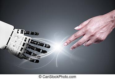robot, ręka, połączenie, ludzki